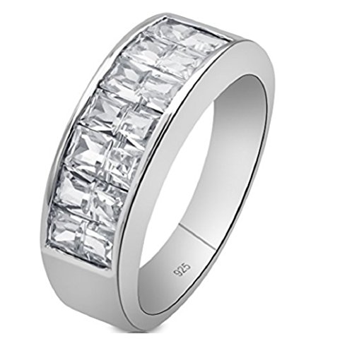 Sterling Silver .925 Ring Band Featuring Channel-Set Invisible Look Cubic Zirconia (CZ) Stones, Platinum Plated. For Men Women. By Sterling Manufacturers (11)