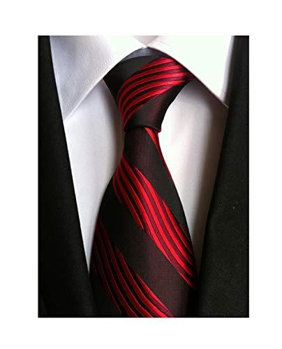 - Striped Black and Red Jacquard Woven Gift Ties for Men Formal Graduation Necktie