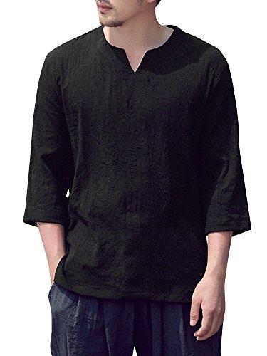 (SySea Mens Vintage Hippie 3/4 Sleeve V Neck Linen Shirts Summer Yoga Tops Black)