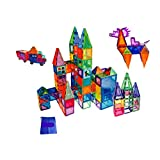 FunEdu Upgraded 100-piece Magnetic Tiles Building Blocks Toy Set Deluxe Super Strong Magnets Various Shapes Wheel bases Tiles with Animal Images for kids toddlers