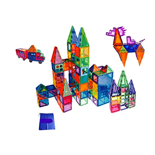 FunEdu Upgraded 100-piece Magnetic Tiles Building Blocks Toy Set Deluxe Super Strong Magnets Various Shapes Wheel bases Tiles with Animal Images for kids toddlers ()