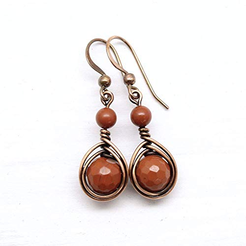 Copper Wire Wrapped Earrings with Red Jasper Gemstone