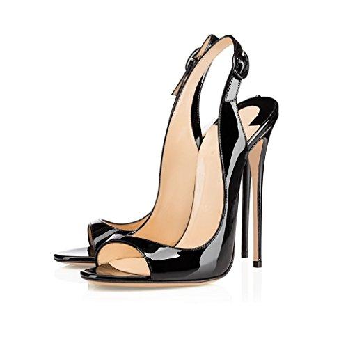 Sandales Noire À Peep Soirée Robe Talons Chaussures 120mm Ouvert De Edefs Femmes Des Bout Toe Hauts Slingback Des Sandale BxCSS7