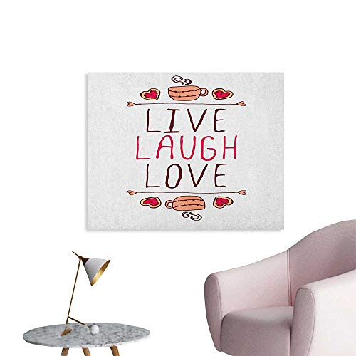 Anzhutwelve Live Laugh Love Photographic Wallpaper Valentines Day Theme Typographic Banner Heart Shaped Cookies and Tea Cup Art Poster Multicolor W32 xL24 ()