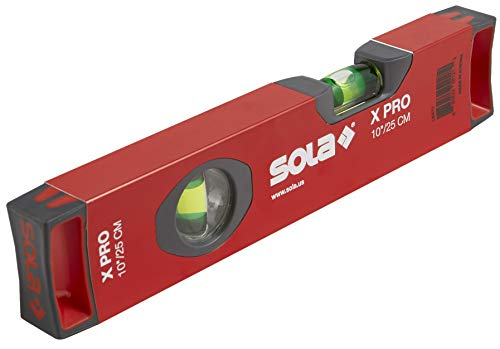SOLA LSX10 X PRO Aluminum Box Profile Spirit Level with 2 60% Magnified Vials, 10-Inch, Red