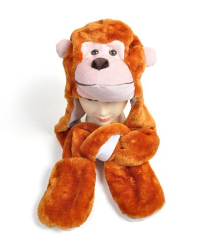 Plush Animal Winter Hats with Paws, Long Mittens - Many Different Animals, Monkey