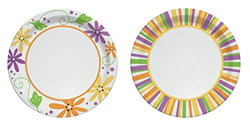Solo Heavy Duty Paper Plate 10'' Mixed Garden Party Stripes & Flowers Design 22 Plates / Package by SOLO