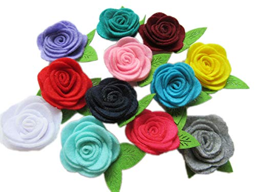 YYCRAFT 24 Pcs 2 Felt Rosette with Leaf,Felt Rose Flowers Applique for DIY Headband Hair Accessory Craft(12 Colors)