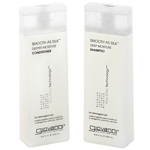 GIOVANNI COSMETICS - Eco Chic Smooth as Silk Shampoo & Conditioner, 8.5 Fluid Ounce / 250 Milliliter - Deep Moisture for chemically processed hair