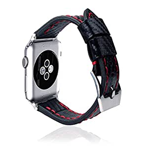 Apple iWatch Strap,Rotibox Genuine Leather Handcraft Strap Smart Watch Band Wristband W/ Metal Adapter Clasp & Stainless Steel Buckle Replacement For Apple Watch & Sport & Edition 38mm (Black/Red)