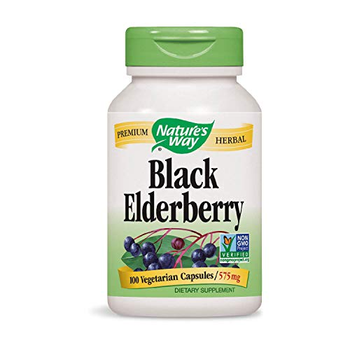 Nature's Way Black Elderberry 575 mg, 100 VCaps (Packaging May Vary)