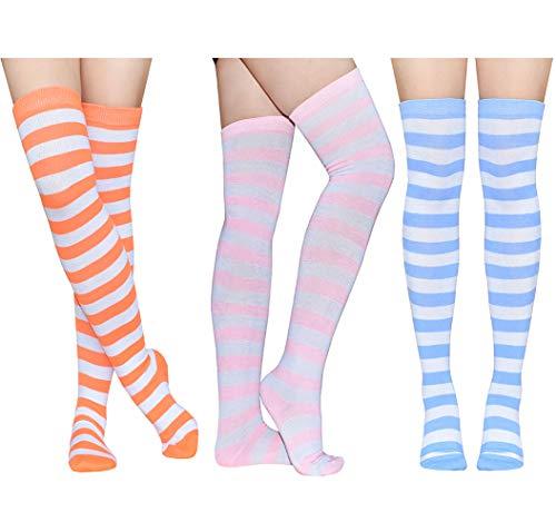 8cc75e1ef3c1c Raylarnia Women's Extra Long Opaque Striped Over Knee High Stockings Socks