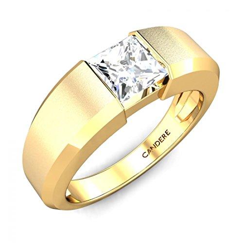 14K Yellow Gold 1 ctw Princess Cut White Diamond Solitair...