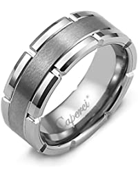 46aa22e6c05e2 8mm Contemporary Comfort Fit Tungsten Wedding Band Rings for Men