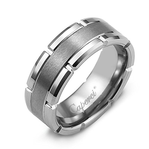 (Caperci 8mm Contemporary Comfort Fit Tungsten Carbide Wedding Band Ring for Men Size 10.5 )