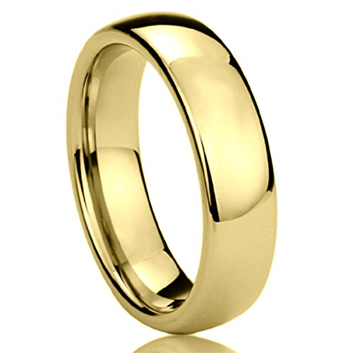 Domed Comfort Fit Wedding Band (6MM Stainless Steel Mens Womens Rings Yellow Tone High Polished Classy Domed Comfort Fit Wedding Bands SZ: 11.5)