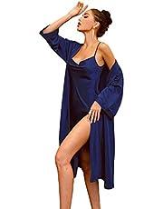 WDIRARA Women's Sleepwear Satin Pajama Set Split Side Night Dress with Belt Robe