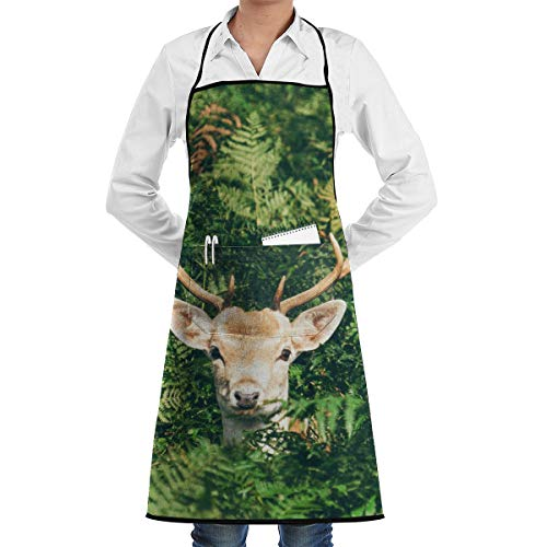 Szipry Unisex Adjustable Chef Apron with Pocket Deer in Bush Bib Apron Kitchen Apron Adjustable Extra Long Ties for BBQ Baking and Cooking-Black ()