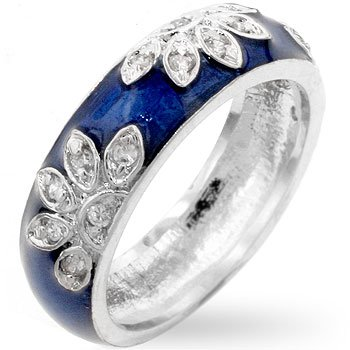 (Genuine Rhodium Plated Navy Blue Enamel Ring with Clear Cubic Zirconia in a Leaf Design Size 6)