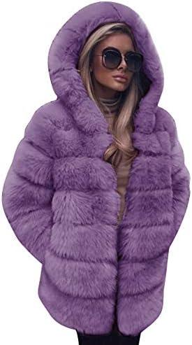 TIMEMEANS Clearance! Fashion Women's Long Sleeve Hooded Winter Warm Lapel Faux Fur Coat Jacket Coat