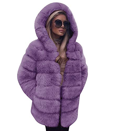 Clearance Forthery Women's Thicken Warm Winter Coat Hood Faux Fur Overcoat Jacket Outwear(Purple, US Size M = Tag L) by Forthery