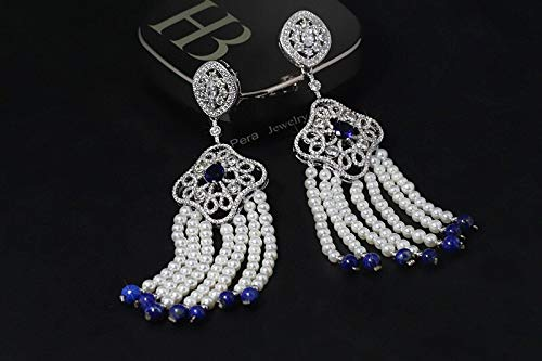 Freshwater Pave Earrings - Luxury 11.5cm Long Pearl Stone Drop Red Cubic Zirconia Pave Ethnic Big Dangle Freshwater Earrings Jewelry | for Women