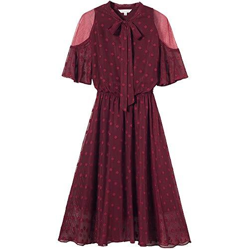 UOYJN Woman Dress Summer Burgundy Dress Summer Section Mesh Waist Slimming Skirt
