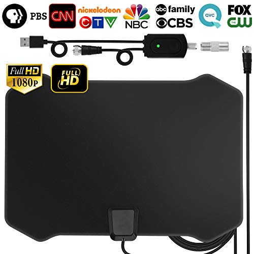 TV Antenna, [2019 Strongest] Indoor Digital HDTV Amplified Television Antenna Freeview 4K 1080P HD VHF UHF for Local Channels 120 Miles Range with Signal Amplifier Support All TV's-13ft Coax Cable ()