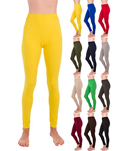 Homma Premium Ultra Soft High Rise Waist Full Length Regular and Plus Size Leggings (XL/2XL, Yellow) ()
