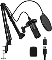 FURINE Podcast Microphone Kit, Type-C Plug and Play Professional Studio Microphone Kit with Gain Knob Noise Re