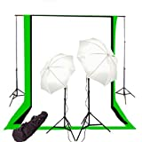 CowboyStudio Photography/Video Studio Lighting Kit with 10ft x 20ft Black, White and Green Muslins Backdrops and Background Support System with Case