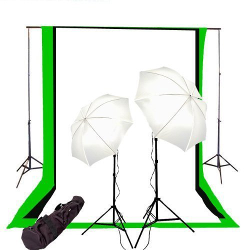 Image of Background Support Equipment CowboyStudio Photography/Video Studio Lighting Kit with Black, White, and Green 6 feet x 9 feet Muslins Backdrop and Background Support System