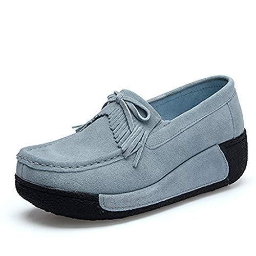 de EU Plataforma Color tamaño Gris borlas Mocasines de Mocasines Qiusa Beige con Zapatos Cordones Zapatos Mujer con 40 BPvcZwq