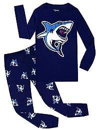 Little and Big Boys Shark Pajama Set 100% Cotton Childrens Sleepwear Clothes