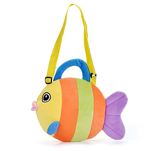 Lazada Plush Fish Kids Shoulder Bag Kindergarten Preschool Purse Cartoon Messenger Bag Handbags (Plush Poodle Purse)