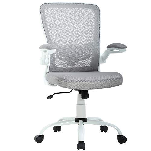 Mid Back Grey Mesh - Office Chair Ergonomic Cheap Desk Chair Mesh Computer Chair Back Support Mid Back Executive Chair Task Rolling Swivel Chair for Back Pain, Grey
