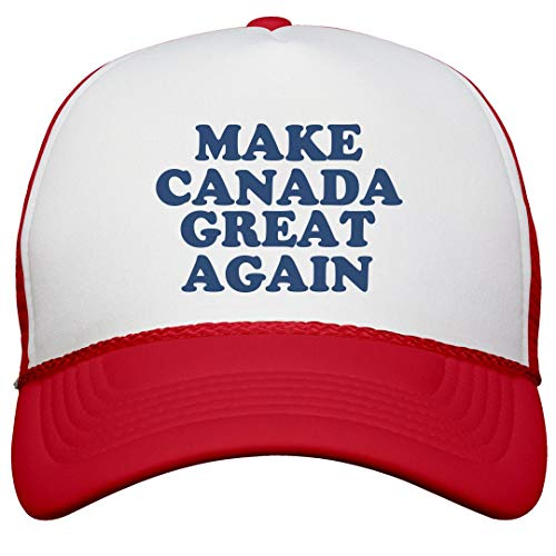 FUNNYSHIRTS.ORG Make Canada Great Again Hat: Snapback Trucker Hat White/Red]()