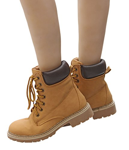 Forever Combat 3 Hiking Eyes Boot Cuff Up Boot Ankle 7 Broadway Lace Women's Shoes Martin Work Short Outdoor Waterproof Resistant Padded Slip pprwxqt