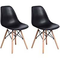 Set of 2 Elecwish Eiffel Style Side Dining Chair, ELERANBE 17.8 Height Armless Accent Chairs with Eiffel Natural Beech Wood Base Legs, for Dining Room Waiting Room Bedroom Kitchen (black)