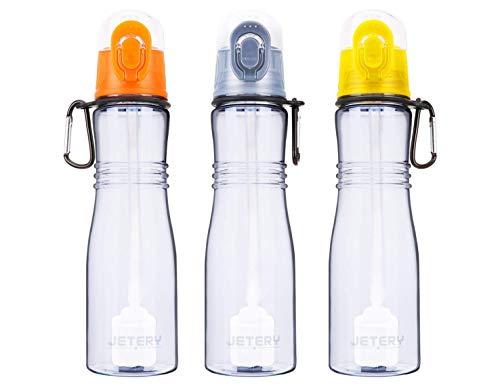 JETERY Sport Water Bottle with Filter, 7050 Personal Hard Side Water Purifier Bottle, Portable Healthy Water Filtration Bottle, Survivor or Emergency Filter Bottle, BPA Free, Leak Proof(Orange)