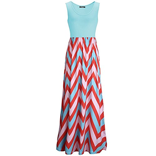 Womens Zig Zag Scoop Neck Wave Striped Tank Maxi Long Dress (X-Large, Blue) ()