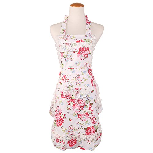 Women's Cotton Floral Apron with Pockets, Adjustable Long Ties for Kitchen Cooking, Baking and Gardening, 28x22 inch ()