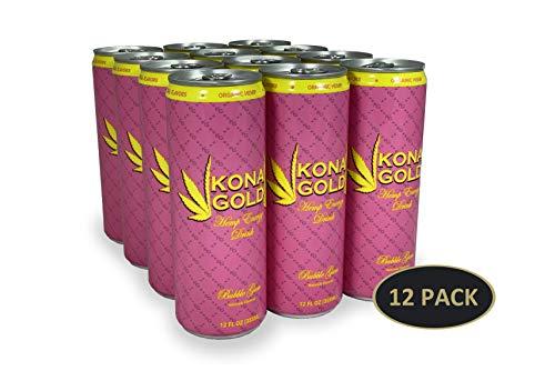 Kona Gold Bubble Gum Hemp Energy Drink 12.0 Fluid Ounces, 12 Pack, Zero Calories, Zero Sugar, Natural Flavors, Organic Hemp