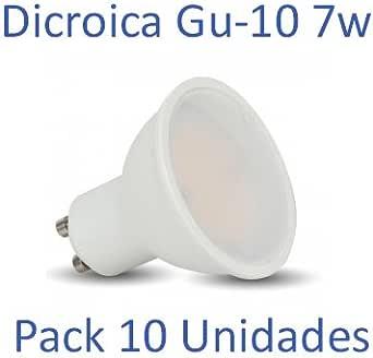 Bombilla LED GU-10 Dicroica 7W 6400ºk (luz fria) [Pack 10 Unidades]: Amazon.es: Iluminación