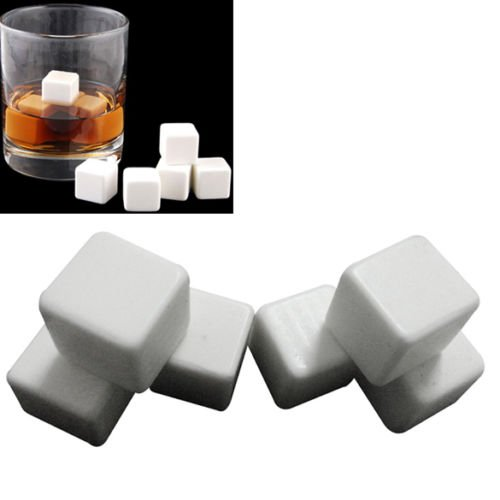 6PCS Ceramic Stone Ice Cubes Chillers for Whiskey Wine Drinks - 1