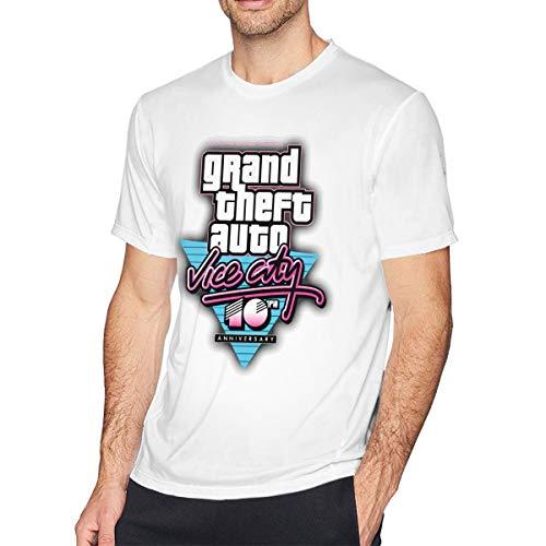 Men Short Sleeve T Shirts GTA V Grand Theft Auto Vice City Graphic Print Leisure L White (Trucos De Gta Vice City Stories Ps2)