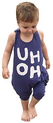 BANGELY Kids Boy Girl Sleeveless Letters Print Romper Harem Pants Jumpsuit,6-12Months/70cm,Blue
