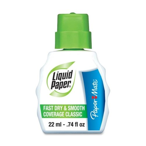 Liquid Paper Products - Liquid Paper - Fast Dry Classic Correction Fluid, 22 ml Bottle, White - Sold As 1 Each - Excellent, quick-drying coverage with a classic brush applicator. - Matches bond and other bright white papers. - Corrects ballpoint, gel, rol