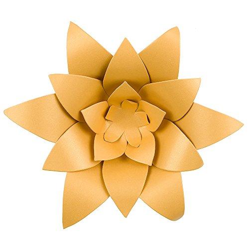 Quasimoon PaperLanternStore.com 8 Inch Pre-Made Gold Lotus Paper Flower Wedding Backdrop Wall Decor, 3D DIY Premium