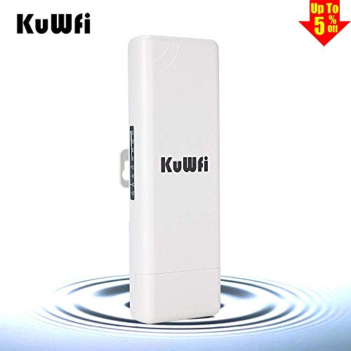 150Mbps WiFi Access Point, KuWFi Waterproof Outdoor Wireless Bridge Outdoor CPE Point to Point 2KM Distance Outdoor Wireless Access Point CPE Router with WiFi Long Range Router More WiFi Range 1000mW